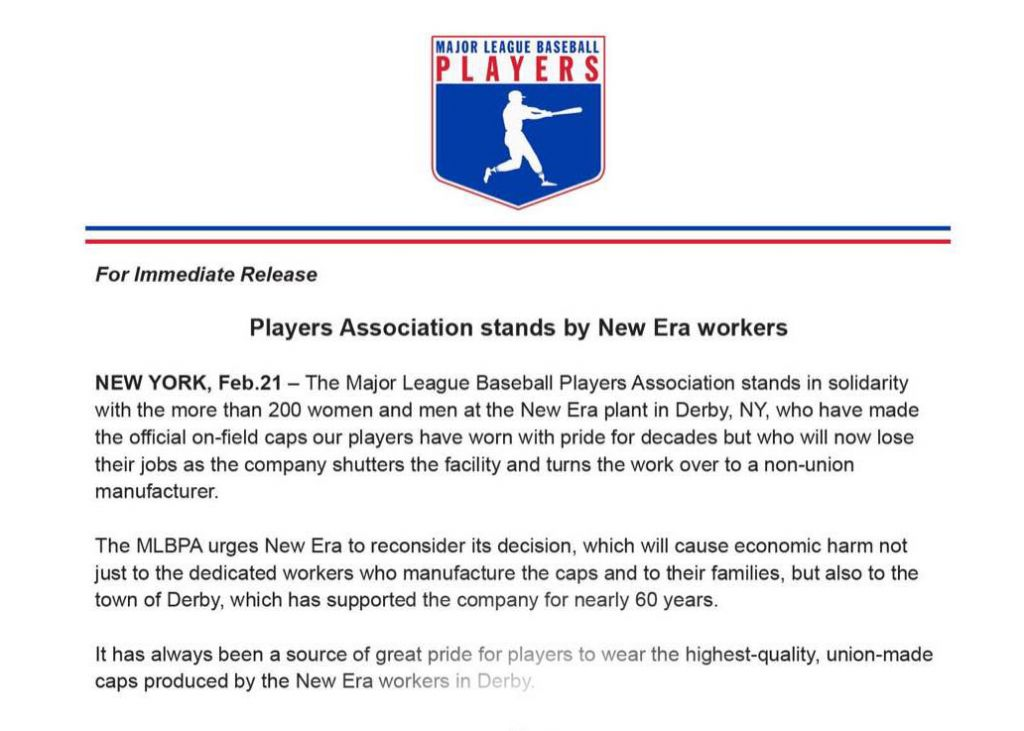 MLB Players Association Stands With New Era Workers 9e3558b18534
